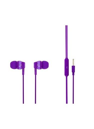 MF Product MF Product Acoustic 0090 Mikrofonlu Kablolu Kulak İçi Kulaklık  Mor